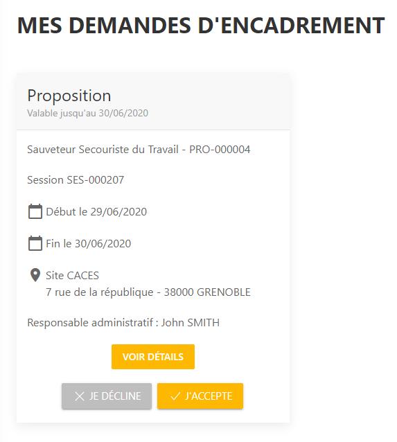 Centralisation des propositions d'encadrement et choix en un clic