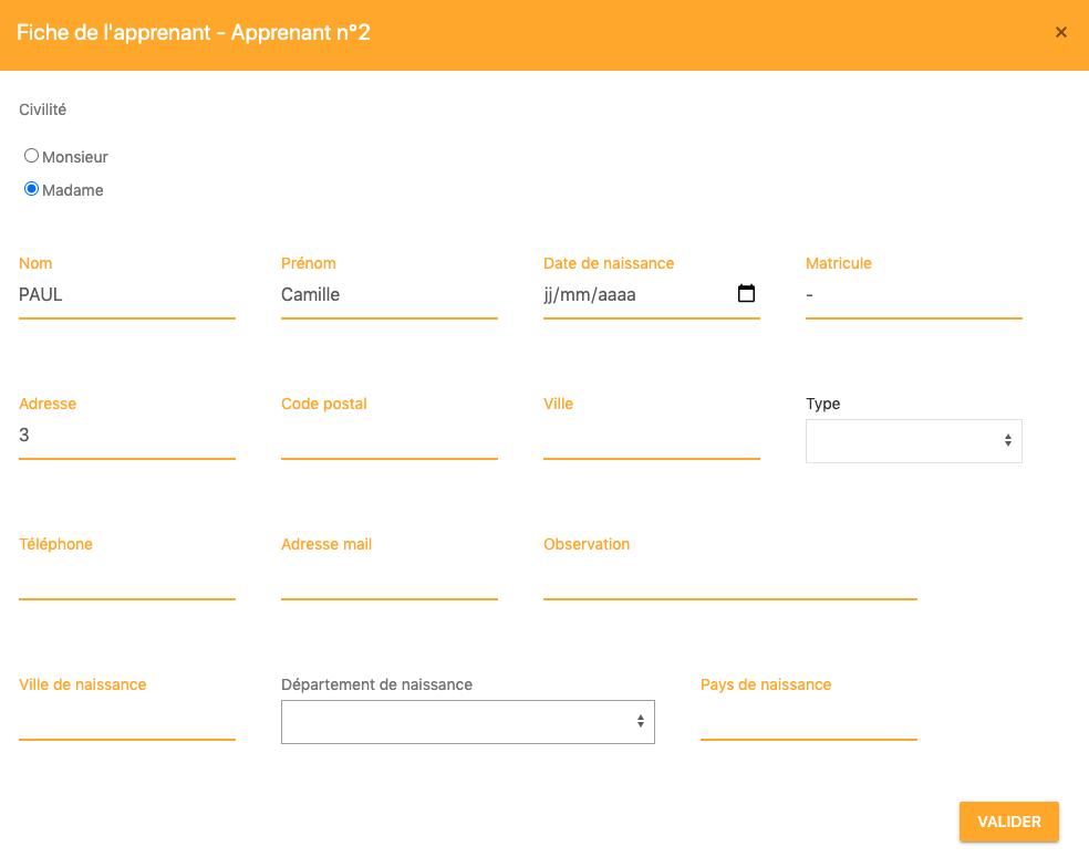 Consultation et mise à jour des apprenants par le formateur depuis son Extranet Intervanants
