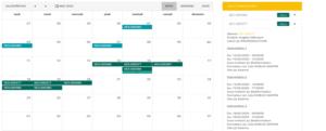Vue calendrier avec accès facile aux détails des sessions